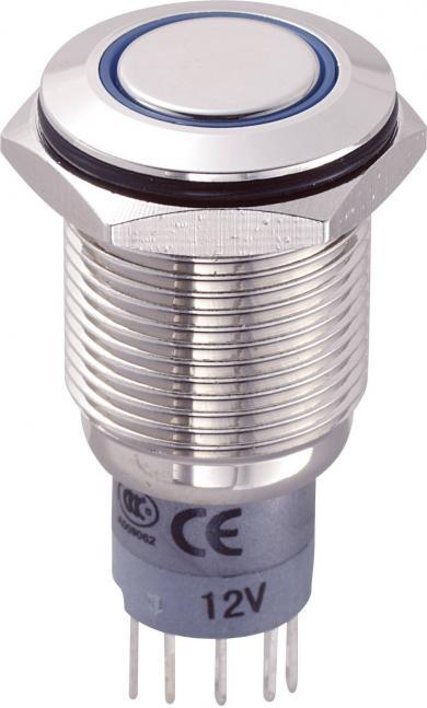 Întrerupător anti-vandalism 16 mm, iluminare 12V/inel, IP 67, 1 x ON/(ON), material alamă nichelată, buton plat, conexiune prin lipire, culoare led albastru
