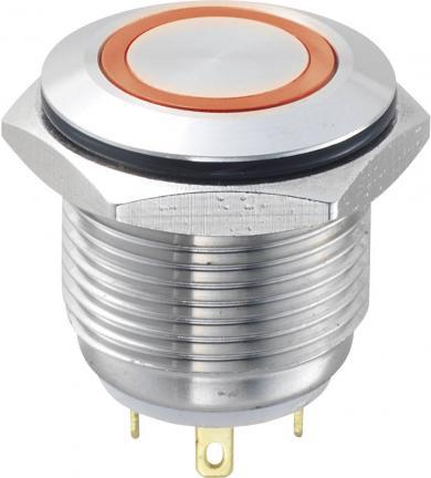 Întrerupător anti-vandalism 16 mm cu iluminare inelară, IP 65, aliaj argint, buton plat, conexiune prin lipire, culoare led roşu