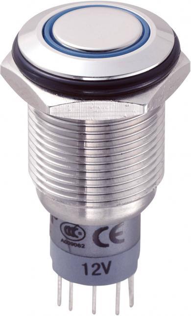 Întrerupător anti-vandalism 16 mm, iluminare 12V/inel, IP 67, 1 x ON/(ON), material oţel inoxidabil, buton plat, conexiune prin lipire, culoare led albastru