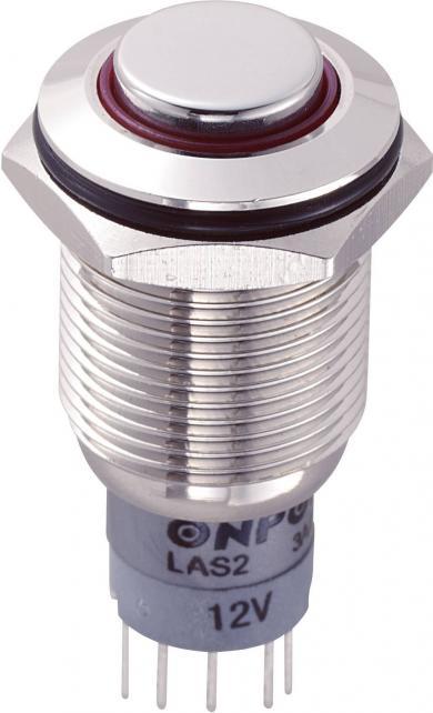 Întrerupător anti-vandalism 16 mm, iluminare 12V/inel, IP 67, 1 x ON/(ON), material alamă nichelată, buton în relief, conexiune prin lipire, culoare led roşu