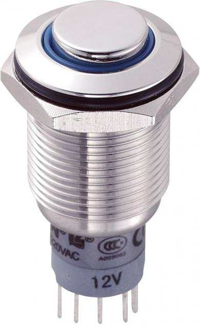 Întrerupător anti-vandalism 16 mm, iluminare 12V/inel, IP 67, 1 x ON/(ON), material oţel inoxidabil, buton în relief, conexiune prin lipire, culoare led albastru
