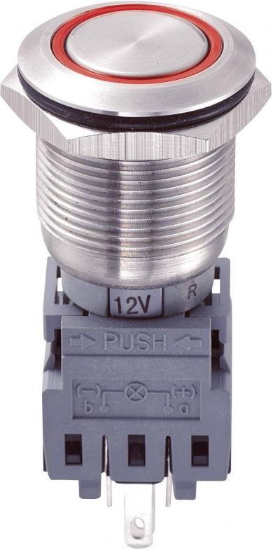 Întrerupător 19 mm anti-vandalism, iluminare inelară, 250 V/AC 5 A