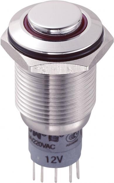 Întrerupător anti-vandalism 16 mm, iluminare 12V/inel, IP 67, 1 x ON/(ON), material oţel inoxidabil, buton în relief, conexiune prin lipire, culoare led roşu