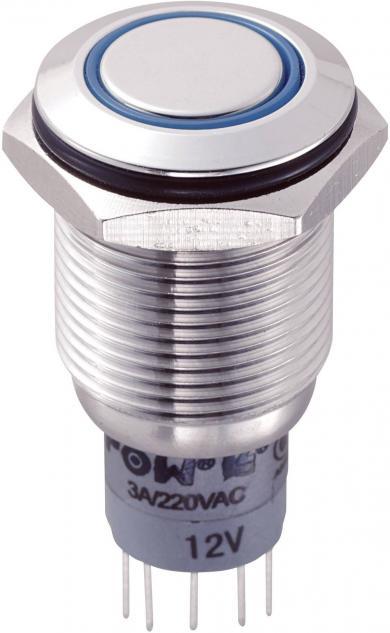 Întrerupător anti-vandalism 16 mm, iluminare 12V/inel, IP 67, 2 x ON/(ON), material oţel inoxidabil, buton plat, conexiune prin lipire, culoare led albastru