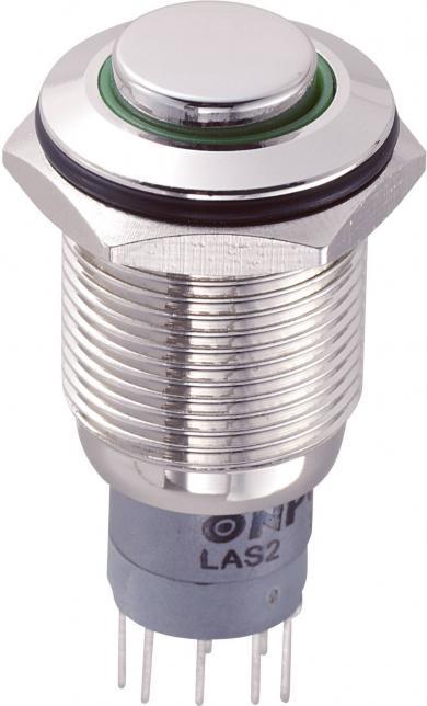 Întrerupător anti-vandalism 16 mm, iluminare 12V/inel, IP 67, 2 x ON/(ON), material alamă nichelată, buton în relief, conexiune prin lipire, culoare led verde