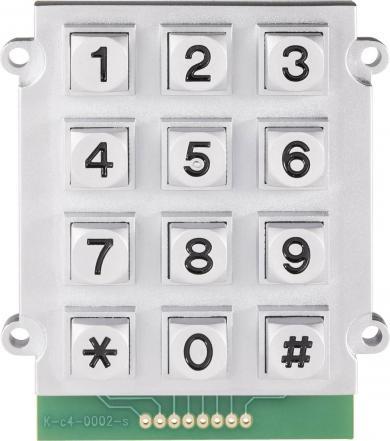 Tastatură metalică 0031-008B-2F, matrice 3 x 4, 62 x 70.5 mm