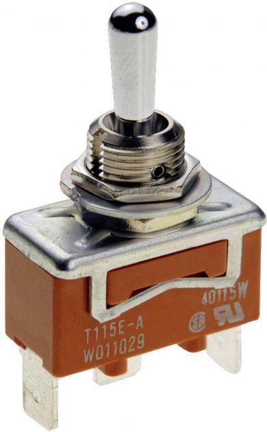 Întrerupător cu manetă tip T115KSULCSAFJ, 15 A, 30 V/DC / 250 V/AC, conexiune prin conector 6,35 mm, 1 pol (ON)/OFF/(ON)