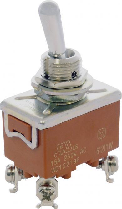 Întrerupător cu manetă tip T215KSULCSAFJ, 15 A, 30 V/DC / 250 V/AC, conexiune prin şurub, 2 polI ON/OFF