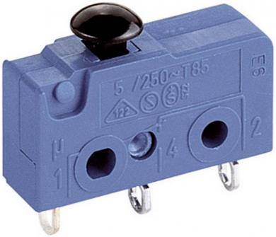 Microîntrerupător Marquardt, seria 1050, 1 x ON/(ON), 250 V/AC, 5 A, conexiune prin conector plat 2,8 mm, manetă tip ciupercă