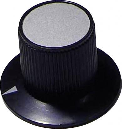 Buton rotativ, Ø ax 6 mm, 29/17 mm, negru