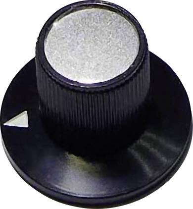 Buton rotativ, Ø ax 6 mm, 23/13 mm, negru