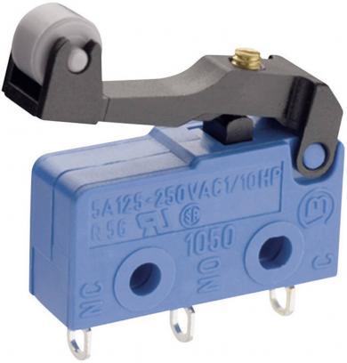 Microîntrerupător Marquardt, seria 1050, 1 x ON/(ON), 250 V/AC, 5 A, conexiune prin conector plat 2,8 mm, manetă cu rolă