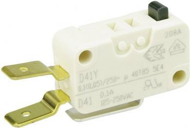 Întrerupător miniatură D4 Cherry, D413-V3AA, 250 V/AC, fără manetă, conexiune prin conector plat, 6,3 X 0,8 mm, curent de comutare 0,1 A