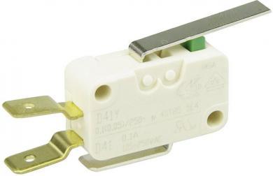 Întrerupător miniatură D4 Cherry, D413-V3LD, 250 V/AC, manetă scurtă, conexiune prin conector plat, 6,3 X 0,8 mm, curent de comutare 0,1 A
