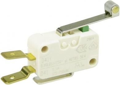 Întrerupător miniatură D4 Cherry, D413-V3RD, 250 V/AC, manetă cu rolă, lungă, conexiune prin conector plat, 6,3 X 0,8 mm, lungă, curent de comutare 0,1 A