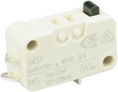 Întrerupător miniatură D4 Cherry, D453-B8AA, 250 V/AC, fără manetă, conexiune prin conector pentru lipre, scurt, curent de comutare 16 (4) A