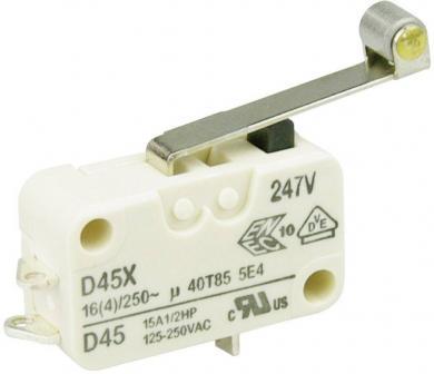 Întrerupător miniatură D4 Cherry, D459-B8RD, 250 V/AC, manetă cu rolă, lungă, conexiune prin conector pentru lipre, scurt, curent de comutare 16 (4) A