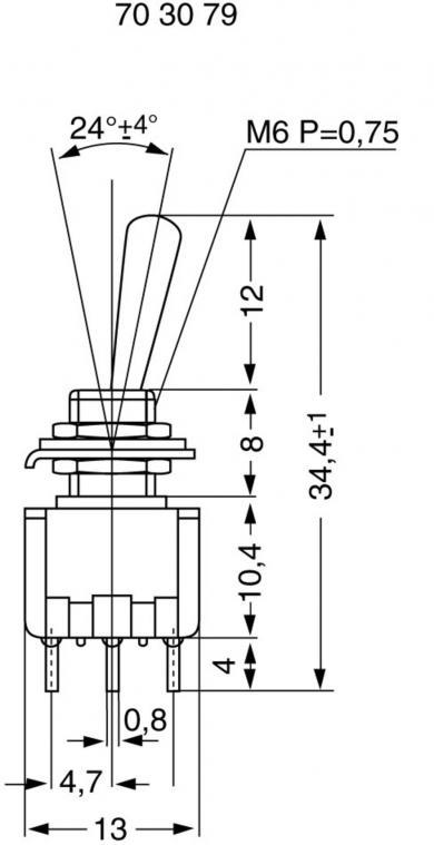 Întrerupător basculant miniatură MIYAMA, MS 500-BC-F 2 x ON/ON 125 V/AC 6 A
