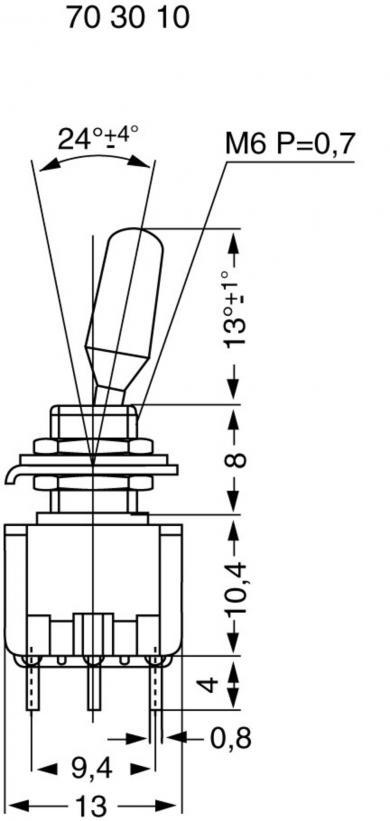 Întrerupător basculant miniatură MIYAMA, MS 500-BC-H 2 x ON/OFF/ON 125 V/AC 6 A