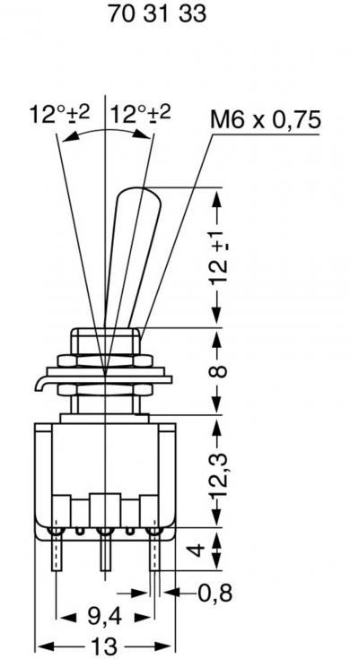 Întrerupător basculant miniatură MIYAMA, MS 500-M-BC 3 x ON/ON 125 V/AC 6 A