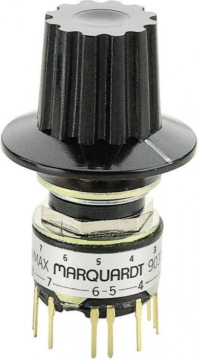 Întrerupător rotativ miniatură 9037.0200, 125 V/AC, 0.5 A, poziţii de comutare 2 x 6