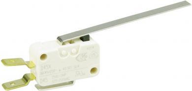 Întrerupător miniatură D4 Cherry, D459-V3LL, 250 V/AC, manetă lungă, conexiune prin conector plat, 6,3 X 0,8 mm, curent de comutare 16 (4) A