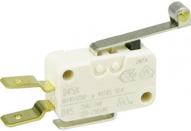Întrerupător miniatură D4 Cherry, D459-V3RD, 250 V/AC, manetă cu rolă, lungă, conexiune prin conector plat, 6,3 X 0,8 mm, curent de comutare 16 (4) A