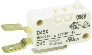 Întrerupător miniatură D4 Cherry, D45U-V3AA, 250 V/AC, fără manetă, conexiune prin conector plat, 6,3 X 0,8 mm, curent de comutare 16 (4) A