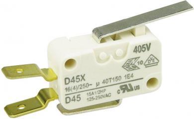 Întrerupător miniatură D4 Cherry, D45U-V3LD, 250 V/AC, manetă scurtă, conexiune prin conector plat, 6,3 X 0,8 mm, curent de comutare 16 (4) A