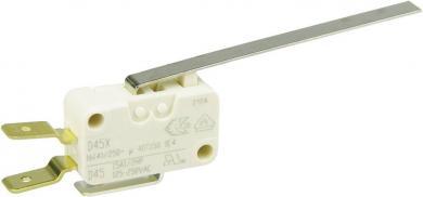 Întrerupător miniatură D4 Cherry, D45U-V3LL, 250 V/AC, manetă lungă, conexiune prin conector plat, 6,3 X 0,8 mm, curent de comutare 16 (4) A