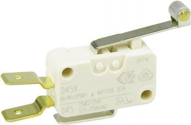 Întrerupător miniatură D4 Cherry, D45U-V3RD, 250 V/AC, manetă cu rolă, lungă, conexiune prin conector plat, 6,3 X 0,8 mm, curent de comutare 16 (4) A