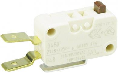 Întrerupător miniatură D4 Cherry, D489-V3AA, 250 V/AC, fără manetă, conexiune prin conector plat, 6,3 X 0,8 mm, curent de comutare 21 (8) A