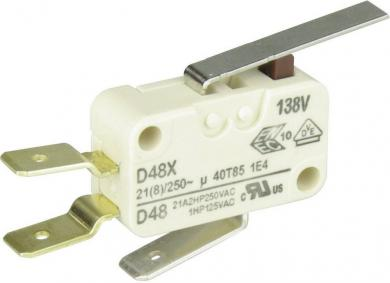 Întrerupător miniatură D4 Cherry, D489-V3LD, 250 V/AC, manetă scurtă, conexiune prin conector plat, 6,3 X 0,8 mm, curent de comutare 21 (8) A
