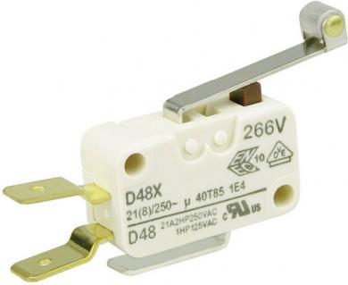 Întrerupător miniatură D4 Cherry, D489-V3RD, 250 V/AC, manetă cu rolă, lungă, conexiune prin conector plat, 6,3 X 0,8 mm, curent de comutare 21 (8) A