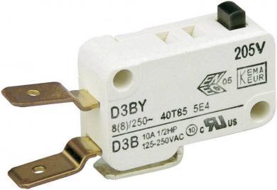 Întrerupător miniatură D3 Cherry, D3B6-V3AA, 250 V/AC, 1 x ON/(ON), fără manetă