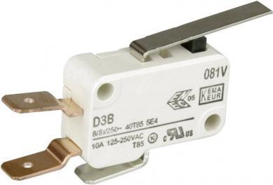 Întrerupător miniatură D3 Cherry, D3B6-V3LD, 250 V/AC, 1 x ON/(ON), manetă dreaptă, scurtă