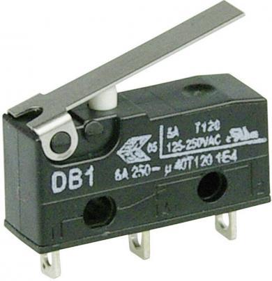 Întrerupător subminiatură DB1 Cherry, DB1C-A1LB, 250 V/AC, manetă scurtă, conexiune prin ochiuri de lipire, curent de comutare 6 A