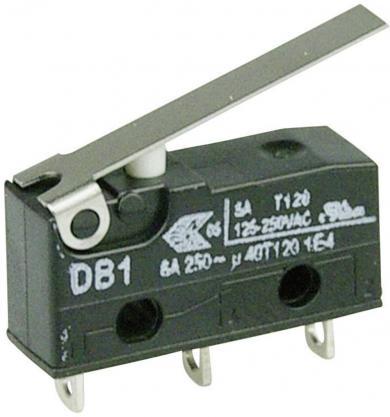 Întrerupător subminiatură DB1 Cherry, DB1C-A1LC, 250 V/AC, manetă medie, conexiune prin ochiuri de lipire, curent de comutare 6 A