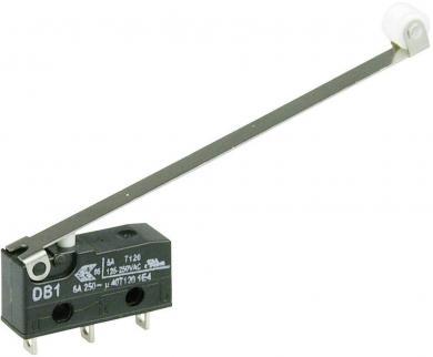 Întrerupător subminiatură DB1 Cherry, DB1C-A1RD, 250 V/AC, manetă cu rolă, lungă, conexiune prin ochiuri de lipire, curent de comutare 6 A