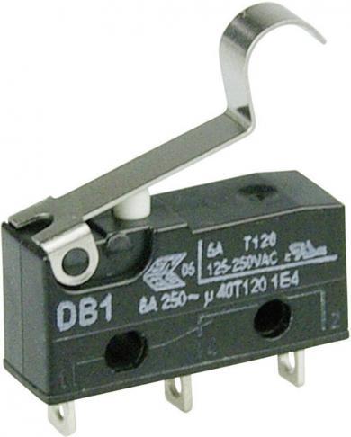Întrerupător subminiatură DB1 Cherry, DB1C-A1SB, 250 V/AC, manetă cu simulare rolă, scurtă, conexiune prin ochiuri de lipire, curent de comutare 6 A