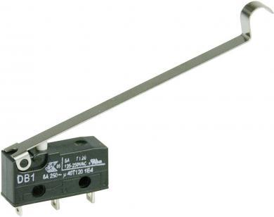 Întrerupător subminiatură DB1 Cherry, DB1C-A1SD, 250 V/AC, manetă cu simulare rolă, lungă, conexiune prin ochiuri de lipire, curent de comutare 6 A