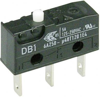 Întrerupător subminiatură DB1 Cherry, DB1C-B1AA, 250 V/AC, fără manetă, conexiune prin conector plat, 2,8 x 0,5 mm, curent de comutare 6 A