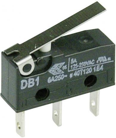 Întrerupător subminiatură DB1 Cherry, DB1C-B1LB, 250 V/AC, manetă scurtă, conexiune prin conector plat, 2,8 x 0,5 mm, curent de comutare 6 A