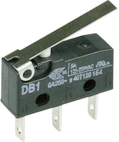 Întrerupător subminiatură DB1 Cherry, DB1C-B1LC, 250 V/AC, manetă medie, conexiune prin conector plat, 2,8 x 0,5 mm, curent de comutare 6 A