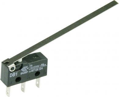 Întrerupător subminiatură DB1 Cherry, DB1C-B1LD, 250 V/AC, manetă lungă, conexiune prin conector plat, 2,8 x 0,5 mm, curent de comutare 6 A