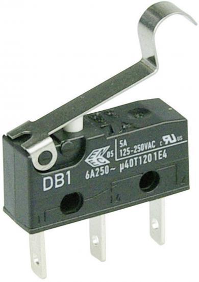 Întrerupător subminiatură DB1 Cherry, DB1C-B1SC, 250 V/AC, manetă cu simulare rolă, medie, conexiune prin conector plat, 2,8 x 0,5 mm, curent de comutare 6 A