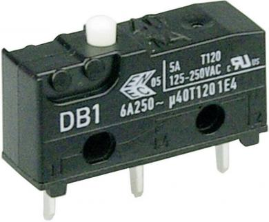 Întrerupător subminiatură DB1 Cherry, DB1C-C1AA, 250 V/AC, fără manetă, conexiune prin conexiuni pentru circuite imprimate 1,3 x 0,5 mm, curent de comutare 6 A