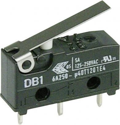 Întrerupător subminiatură DB1 Cherry, DB1C-C1LB, 250 V/AC, manetă scurtă, conexiune prin conexiuni pentru circuite imprimate 1,3 x 0,5 mm, curent de comutare 6 A