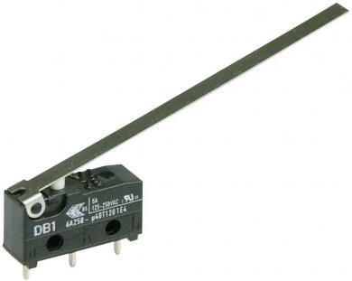 Întrerupător subminiatură DB1 Cherry, DB1C-C1LD, 250 V/AC, manetă lungă, conexiune prin conexiuni pentru circuite imprimate 1,3 x 0,5 mm, curent de comutare 6 A