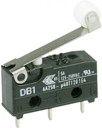 Întrerupător subminiatură DB1 Cherry, DB1C-C1RC, 250 V/AC, manetă cu rolă, medie, conexiune prin conexiuni pentru circuite imprimate 1,3 x 0,5 mm, curent de comutare 6 A